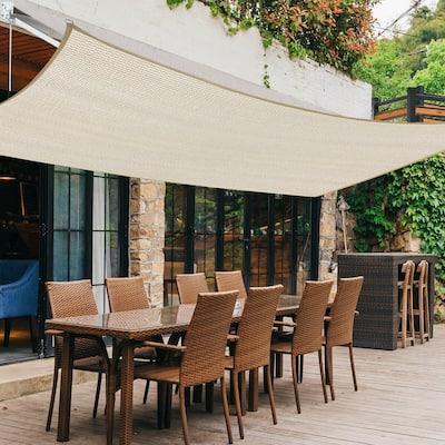 6'x 10' Rectangle Sand Sun Shade Sail Canopy UV Block Awning for Outdoor Patio Garden Backyard