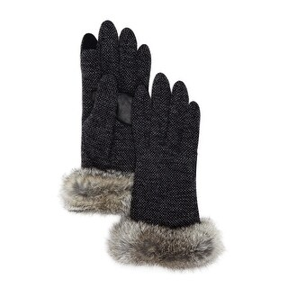 Echo Design Ladies Charcoal Textured Tech Gloves With Rabbit Fur Trim Large L