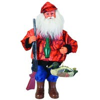 "15"" Outdoorsman Duck Hunter Santa Claus Christmas Table Top Figure with Orange Camo"