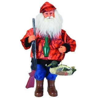 "15"" Outdoorsman Duck Hunter Santa Claus Christmas Table Top Figure with Orange Camo"