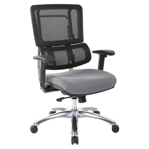 Black Mesh Back with Custom Fabric Seat and Chrome Base