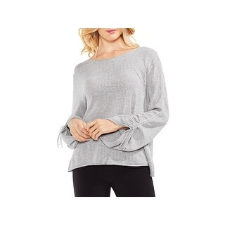Vince Camuto Womens Sweater Pointelle Raw Hem