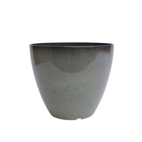 "The Your Choice Patio and Indoor Garden 12"" Ceramic Resin Planter Pot for growing plants and herbs. 12"" Planter Pot, Gray"