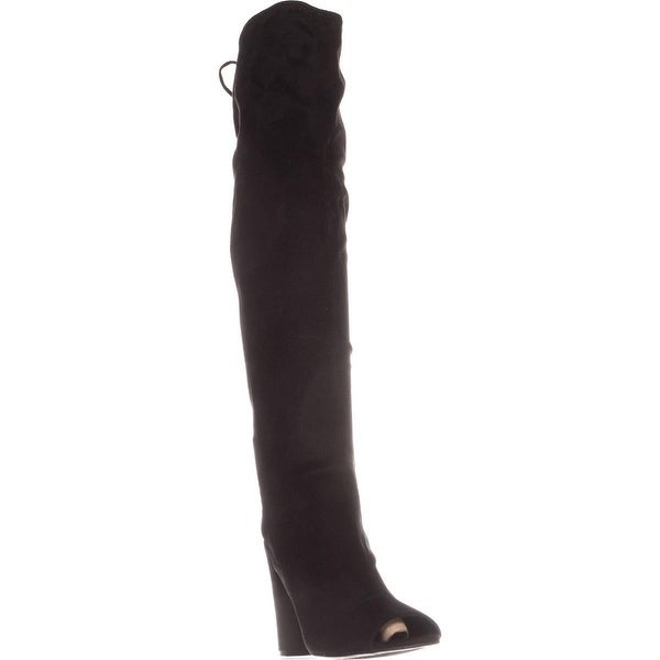 G by Guess Disk Peep-Toe Knee-High Boots, Black