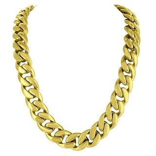 """Mens Miami Cuban Necklace 30"""" Custom Gold Tone Stainless Steel 14mm Hip Hop"""