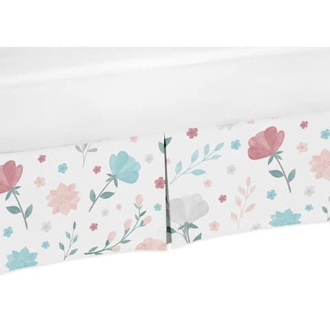 Pop Floral Rose Flowers Girl Crib Bed Skirt - Blush Pink Teal Turquoise Aqua Blue Grey Flower Boho Shabby Chic Modern Watercolor