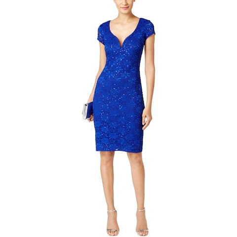 Connected Apparel Womens Party Dress Sequined Lace