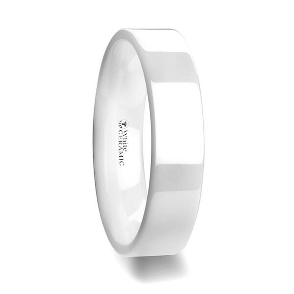 THORSTEN - LUCENT Flat Polish Finished White Ceramic Wedding Ring - 6mm