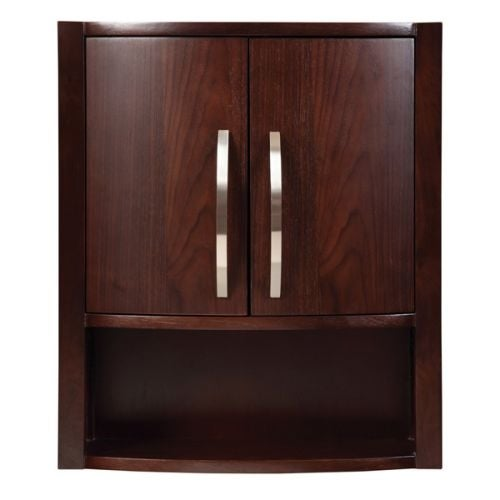 "DecoLav 5255 Lola 22"" Wood Wall Cabinet with Curved Double Doors and Open Storage Cubby"