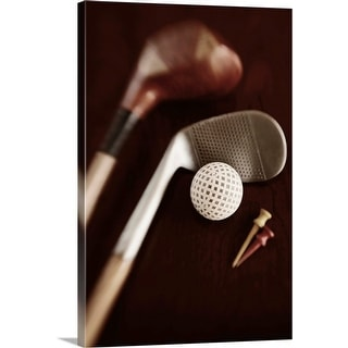 """""""Still life of vintage golf clubs, tees and ball"""" Canvas Wall Art"""