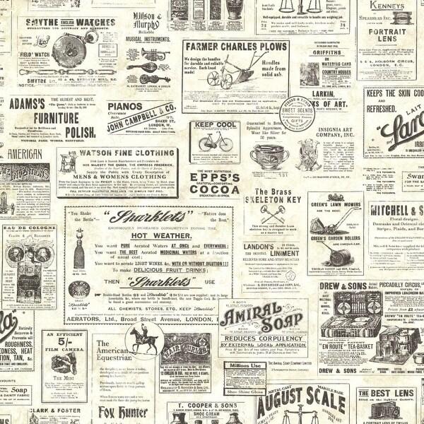 Brewster CTR64271 Adamstown Cream Vintage Newspaper Wallpaper - cream vintage - N/A