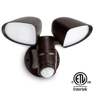 16W Dual-head LED Outdoor Security Light, ETL-Listed, 5000K Daylight-Bronze
