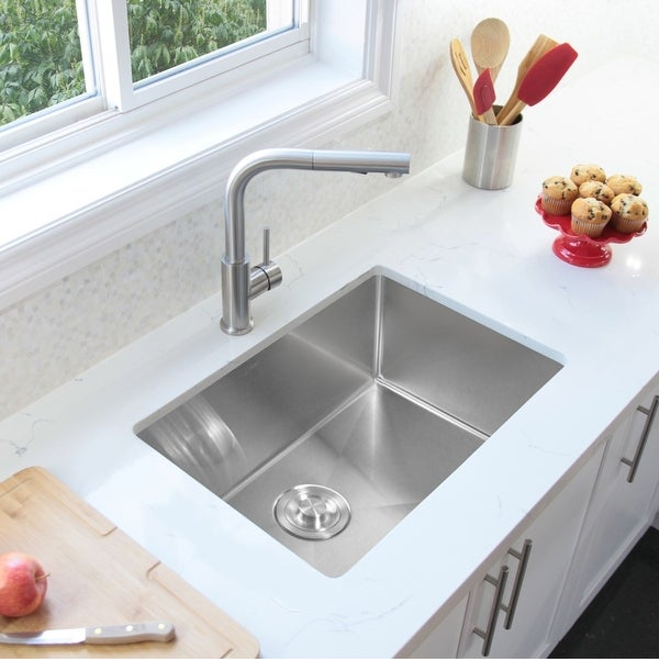"""28""""L x 18""""W Stainless Steel Single Basin Undermount Kitchen Sink with Grid and Strainer. Opens flyout."""