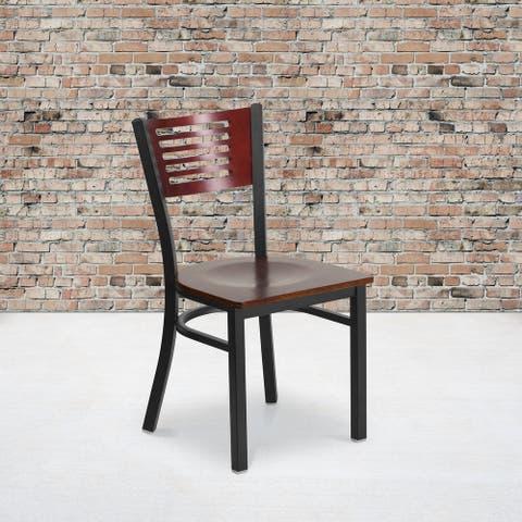 "Decorative Slat Back Metal Restaurant Chair - 17""W x 21""D x 32""H"