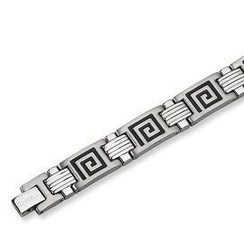 Chisel Black Enamel Brushed and Polished Stainless Steel Bracelet - 9 Inches
