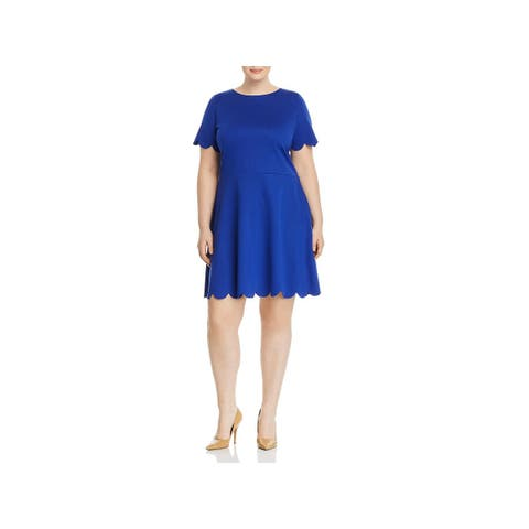 Love...Ady Womens Plus Skater Dress Casual Scalloped