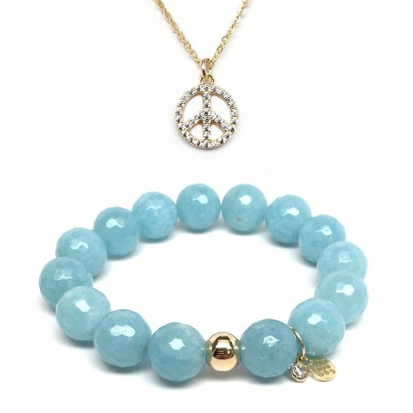 Light Blue Quartz Bracelet & CZ Peace Sign Gold Charm Necklace Set