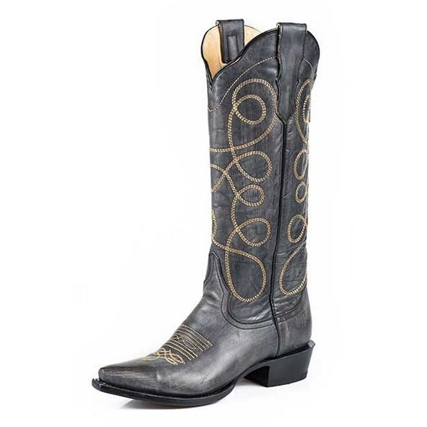 Stetson Western Boots Womens Sanded Zip Black