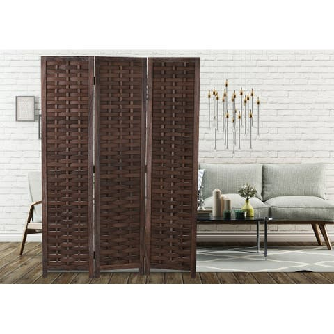 """COZAYH 3-Panel 67"""" Full Shading Paulownia Solid Wood Frame Room Divider Privacy Screen"""