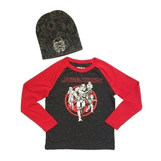 Star Wars Stormtroopers Big Boys Long Sleeve Shirt & Beanie Hat Combo