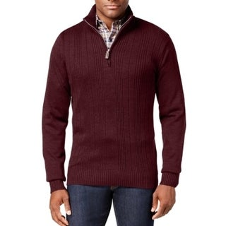 Tricots St. Raphael NEW Red Mens Size 2XL 1/2 Zip Variegated Sweater