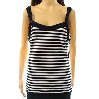 INC NEW Black White Women's Size XL Lace Up Trim Striped Tank Top