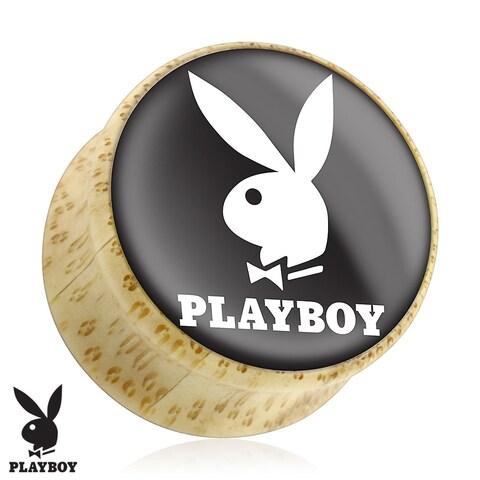 White Playboy Bunny Logo on Black Print Wood Saddle Plug (Sold Individually)