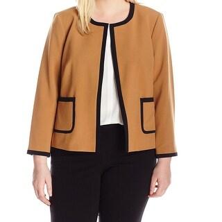 Nine West Brown Black Womens 20W Plus Contrast Open Front Jacket