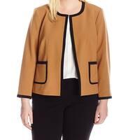 Nine West Brown Black Womens Size 16W Contrast Open Front Jacket