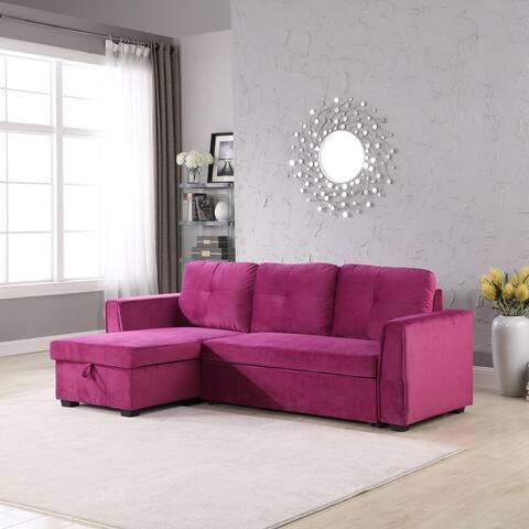 Velvet Reversible Convertible Storage Sectional Sofa Sleeper