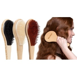 Michel Mercier Wood-Crafted Detangling Brush for Fine, Medium, or Thick Hair