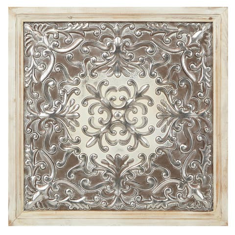 """IMAX Home Z65703 Padmini 24-1/2"""" Wide Iron and Fir Wood Decorative - Silver"""
