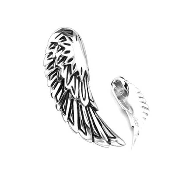 Stainless Steel Fallen Angel Wing Pendant (16 mm Width)