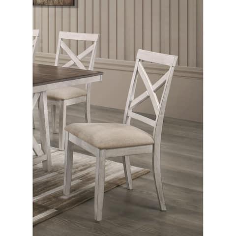 Somerset Crossback Upholstered Dining Chair, Set of 2, Vintage White