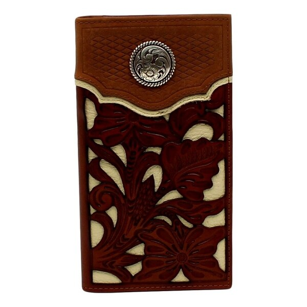 Nocona Western Wallet Men Rodeo Floral Overlay Leather Brown - One size