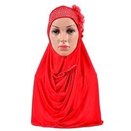 Muslim Flower Zicron Scarf Kerchief Hat bright red