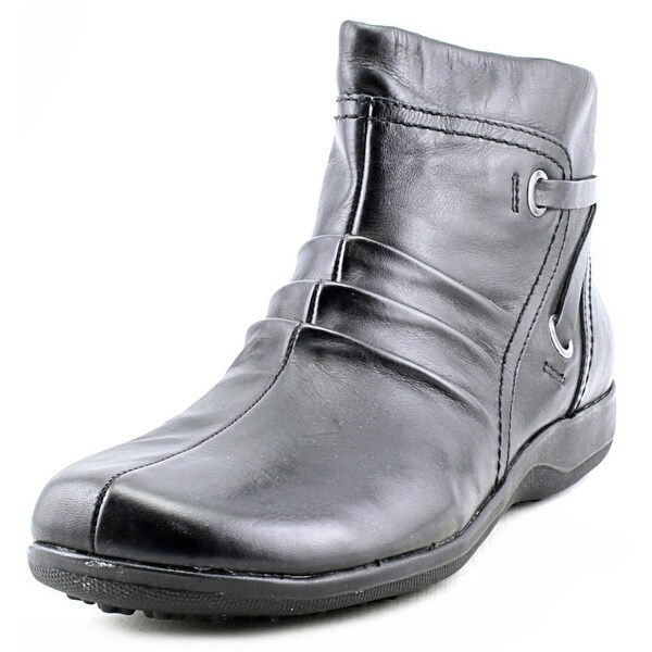 Walking Cradles Zinc Women N/S Round Toe Leather Black Ankle Boot
