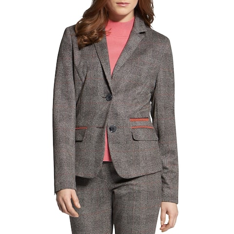 Basler Womens Two-Button Blazer Plaid Suit Seperate - Grey