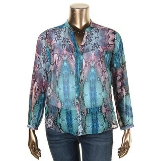 NY Collection Womens Petites Blouse Long Sleeves V-Neck - pxl