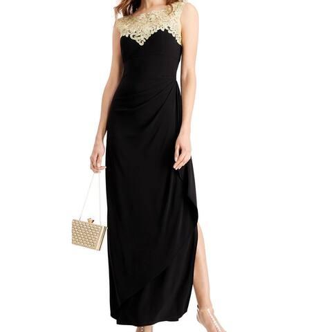 Alex Evenings Women's Dress Black Size 16 Embellished Metallic Gown