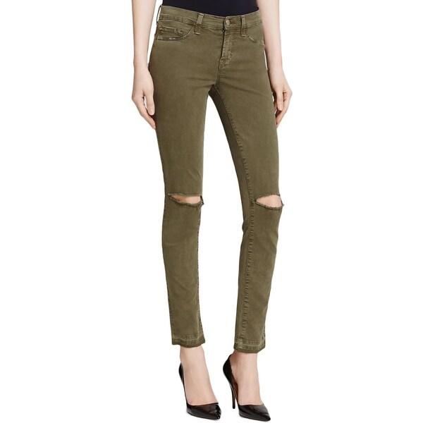 J Brand Womens Colored Skinny Jeans Denim Destroyed