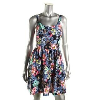 Aqua Womens Juniors Sleeveless Floral Print Casual Dress