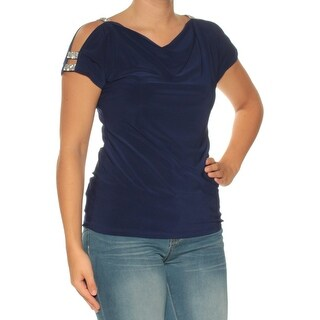 Womens Blue Short Sleeve Cowl Neck Casual Top Size S