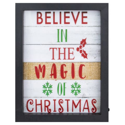 """9"""" Black Framed """"Believe In The Magic Of Christmas"""" LED Christmas Wall Art"""