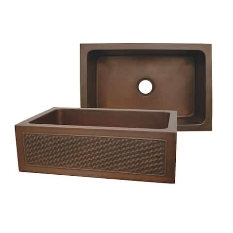 Whitehaus WH3020COFCBW Rectangular Undermount Sink with Basket Weaving - Smooth Bronze
