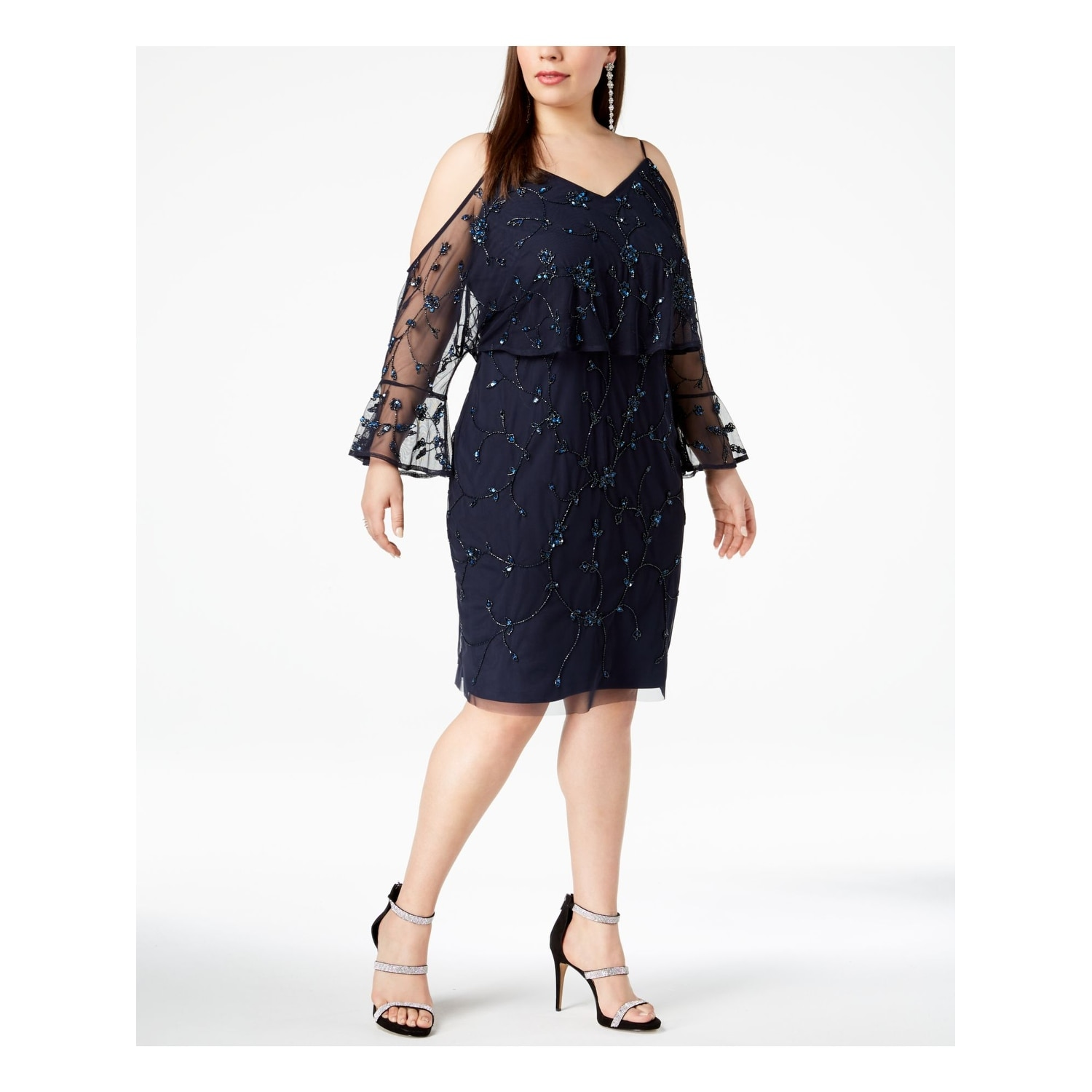 ADRIANNA PAPELL Womens Navy Embellished Cold Shoulder Long Sleeve V Neck  Knee Length Evening Dress Plus Size: 22W
