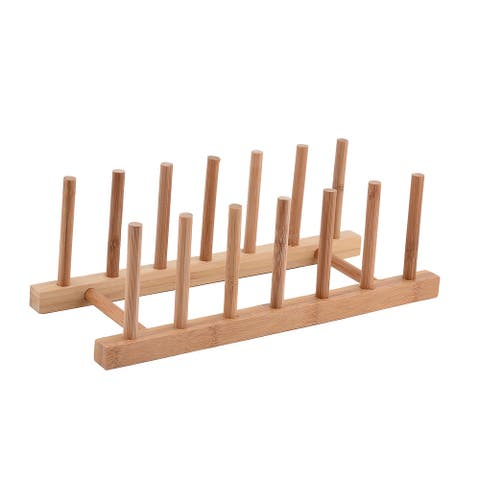 """Household Kitchen Wood Dish Bowl Plate Holder Organizer Drying Rack - Wood Color - 11.8""""x5.3""""x4""""(L*W*H)"""