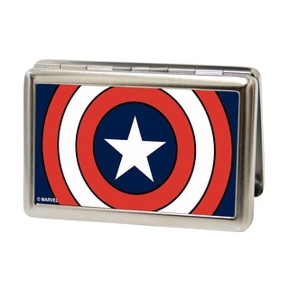 Buckle Down Men's Metal Marvel Captain America Card Case Wallet - captain america - One Size