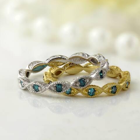 Auriya 10k Gold Vintage Inspired 1/8ctw Blue Diamond Wedding Band