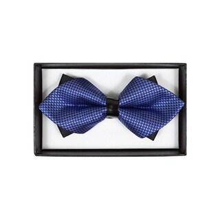 Men's Blue Geometric Diamond Tip Bow Tie - DBB3030-18